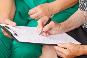 signing a health form